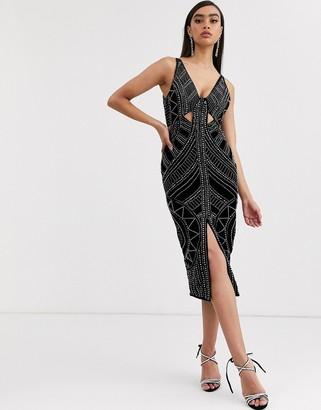 Asos Design DESIGN velvet cut out midi pencil dress with stud embellishment-Black
