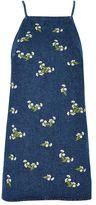 Petite embroidered daisy denim mini dress