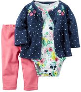 Carter's Baby Girl Polka Dot Jacket, Floral Bodysuit & Pants Set