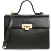 Lodis Medium Bree Leather Top Handle Satchel - Black