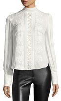 Haute Hippie Pintucked Silk Victorian Blouse, White