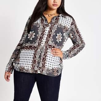 River Island Womens Plus Grey printed long sleeve shirt