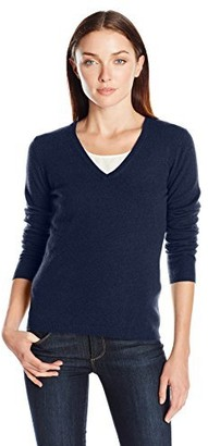 Lark & Ro Amazon Brand Women's 100% Cashmere Soft Slim Fit Basic V-Neck Sweater