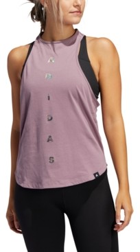 adidas Women's Cotton Racerback Graphic Tank Top