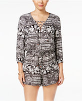American Rag Lace-Up Floral-Print Romper, Only at Macy's