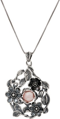 Or Paz Sterling Cultured Pearl Floral Pendant with Chain