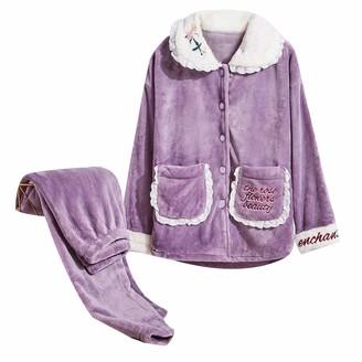 Unifizz Teen Girls 2-Piece Warm Fleece Lingerie Long Sleeve Nightgowns Pajama Top Pants Pjs Set Button Down Soft Casual - Purple Size 2XL