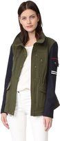 Veronica Beard Skyline Combo Sleeve Army Jacket