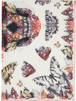 Alexander McQueen White Silk Butterfly Decay Skull Scarf