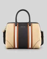 Lucrezia Colorblock Medium Satchel Bag, Blue/Brown