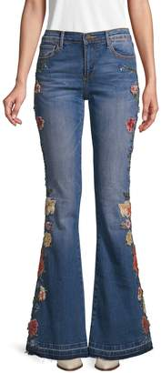 Driftwood Floral Stretch Flared Jeans