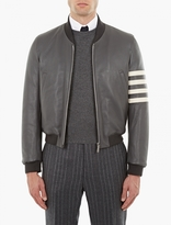 Thom Browne Grey Leather Varsity Bomber Jacket