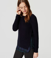 LOFT Plaid Ribbed Two-In-One Sweater