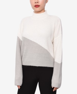 Planet Gold Juniors' Colorblocked Mock Neck Sweater