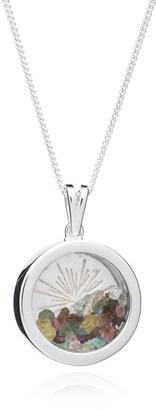 Rachel Jackson London Sunburst Birthstone Amulet Necklace Silver October