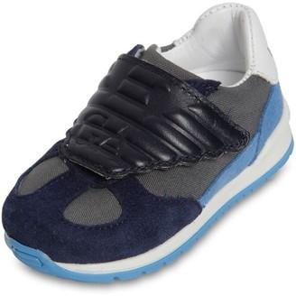 Emporio Armani Cotton Canvas & Leather Strap Sneakers