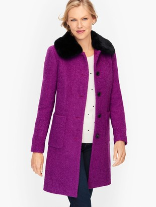 Talbots Faux Fur Collar Boucle Coat