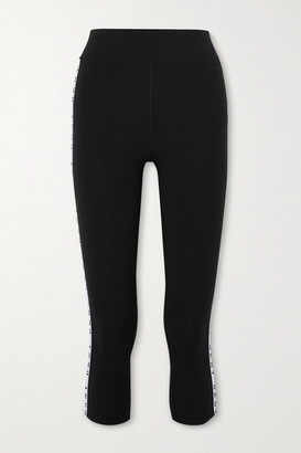 DKNY The Warm Up Two-tone Stretch-jersey Leggings - Black