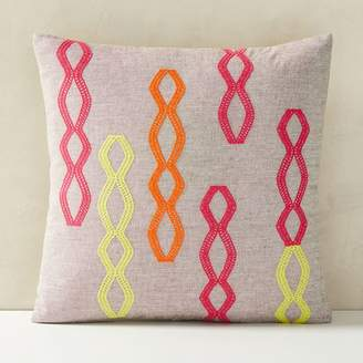west elm Embroidered Diamond Stripe Pillow Cover
