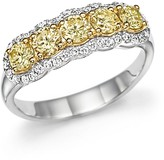 Bloomingdale's Diamond and Yellow Diamond Band Ring 14K White Gold
