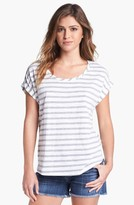 Vince Camuto Two by Stripe Roll Sleeve Tee