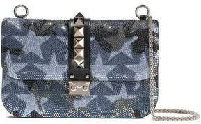 Valentino Garavani Glam Lock Crystal-embellished Suede And Leather Shoulder Bag