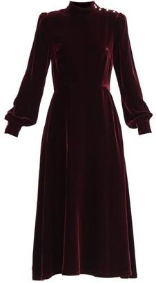 Goat Khalo Crystal-button Velvet Midi Dress - Burgundy