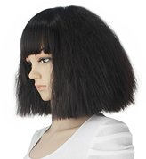 eNilecor Short Fluffy Bob Kinky Straight Hair Wigs with Bangs Synthetic Heat Resistant Women Fashion Hairstyles Custom Cosplay Party Wigs + Wig Cap?Black)