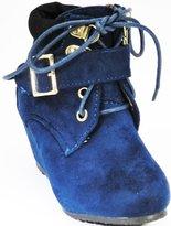 DEV Girls Bella Marie Classic Collar Lace Up Side Zip Slip On Wedge Heel Dress Almond Toe Bootie Shoes