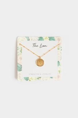francesca's The Lion Coin Pendant Necklace - Gold
