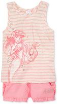 Disney Disney's® The Little Mermaid 2-Pc. Ariel Graphic Striped Tank Top & Shorts Set, Toddler & Little Girls (2T-6X)