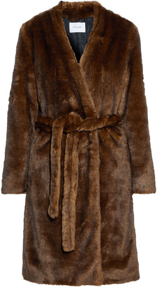 Frame Belted Faux Fur Coat