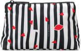 Lulu Guinness striped lip print makeup bag