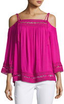 Laundry by Shelli Segal Cold-Shoulder Lace-Trim Gauze Blouse