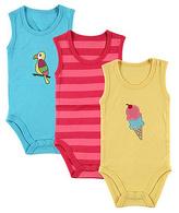 Hudson Baby Pink & Aqua Sleeveless Bodysuit Set - Infant