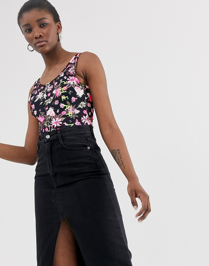 Cheap Monday roses are dread all over print bodysuit with recycled polyester