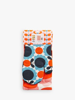 Orla Kiely Scallop Flower Oven Mitt & Butterfly Stem Tea Towel Set, Blue/Multi