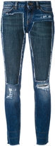 Dolce & Gabbana deconstructed skinny jeans - women - Cotton/glass/copper/Calf Leather - 40