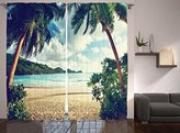 Nautical Curtains Palm Trees Sunset Decor by Ambesonne, Summer Holiday and Beach Vintage Style Picture, Window Treatments, Living Kids Girls Room Curtain 2 Panels Set, 108 X 84 Inch, Green Blue Cream