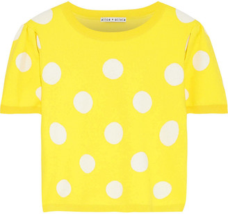 Alice + Olivia Ciara Cropped Polka-dot Jacquard-knit Sweater
