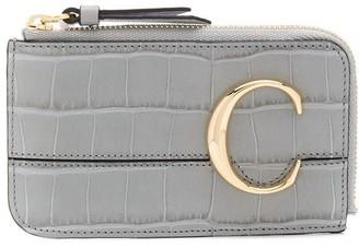 Chloé C plaque crocodile-effect coin purse