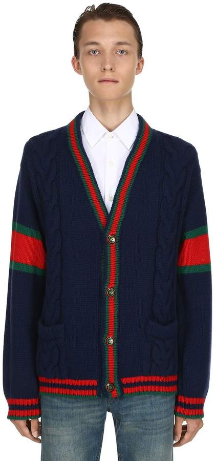 Gucci Wool Cable Knit Cardigan W/ Web Trim