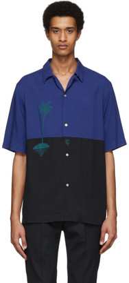 Paul Smith and Christoph Niemann Blue and Navy Sunset Print Short Sleeve Shirt