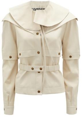Symonds Pearmain - Ruffle-neck Belted Leather Jacket - Cream