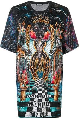 Balmain World Tour printed T-shirt