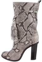 Lanvin Snakeskin Round-Toe Boots