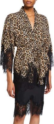 Gold Hawk Coco Animal-Print Kimono Robe