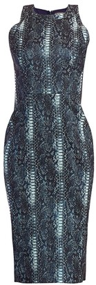 Zac Posen Snakeskin-Print Metallic Jacquard Cocktail Dress