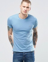 Farah T-Shirt With F Logo In Slim Fit In Seal Blue
