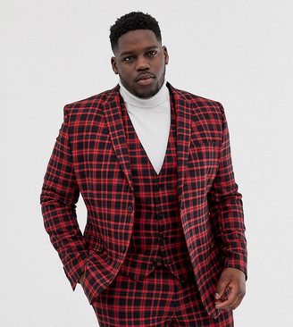 Asos Design DESIGN Plus super skinny suit jacket in red tartan check